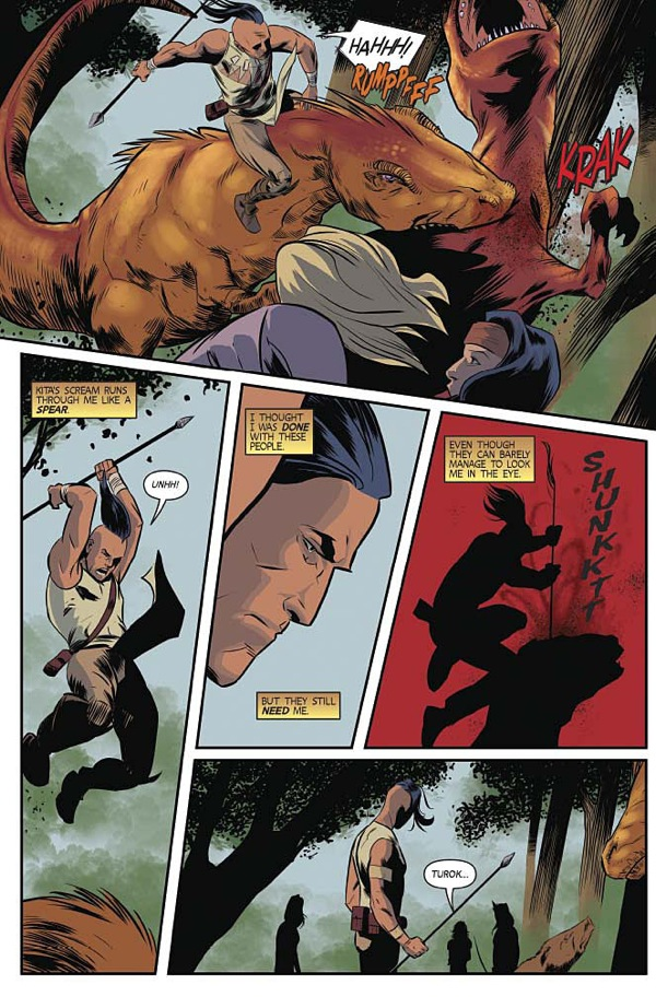 """A scene from """"Turok"""" #9, the first issue co-written by Greg and Paul."""