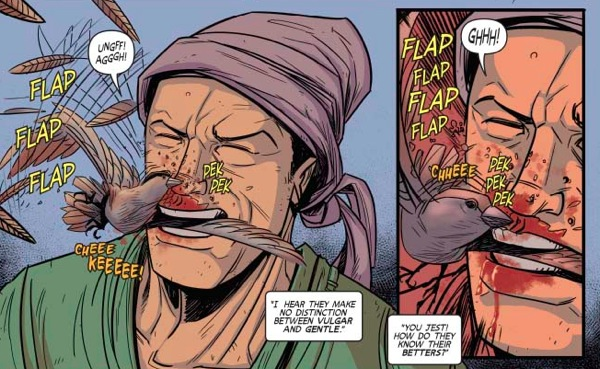 "The infamous ""mumbling a sparrow"" scene from ""Turok"" #10."