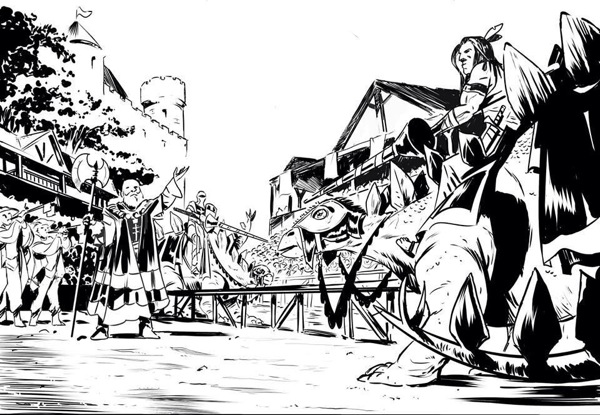"Stegosaurus jousting, as drawn by Stephen Downey for ""Turok"" #10."