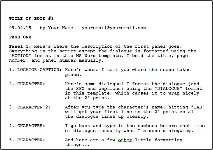 free movie script template - greg pak comic book writer filmmakerdownloadable ms